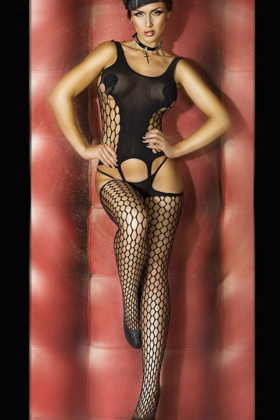Black Bold Cutout Pothole Body Stocking