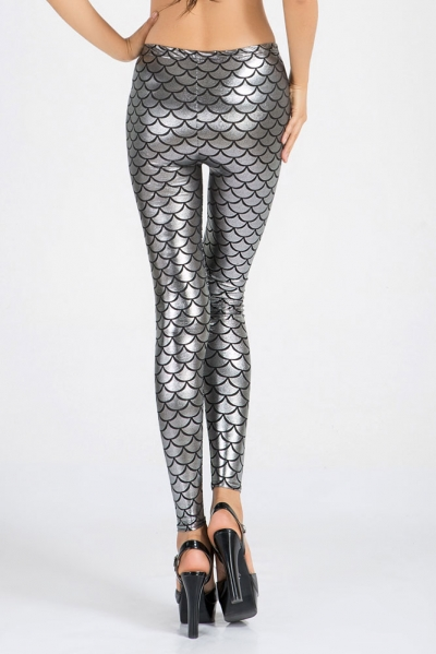 Silver Metallic Scales Leggings