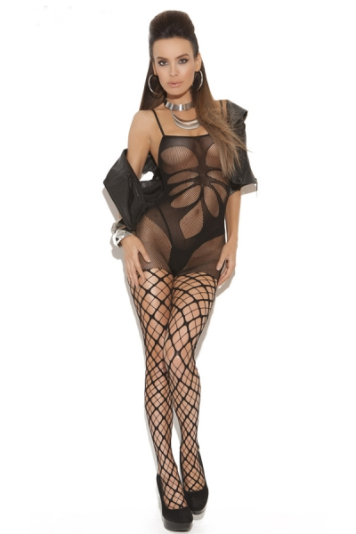 Floral Shade Mesh Body Stocking with Pothole Legs