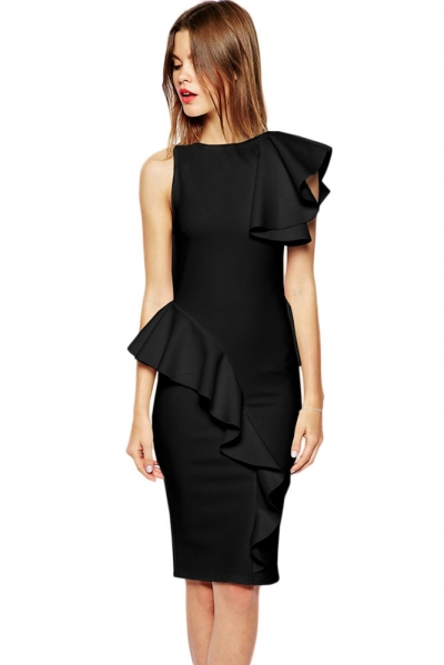 Black Ruffle Bonded Texture Body-Conscious Dress