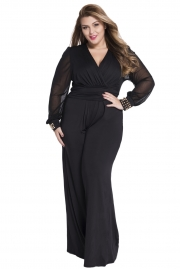 Black Embellished Cuffs Long Mesh Sleeves Jumpsuit