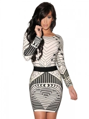 Sexy Backless Tribal Print Long Sleeve Vintage Dress