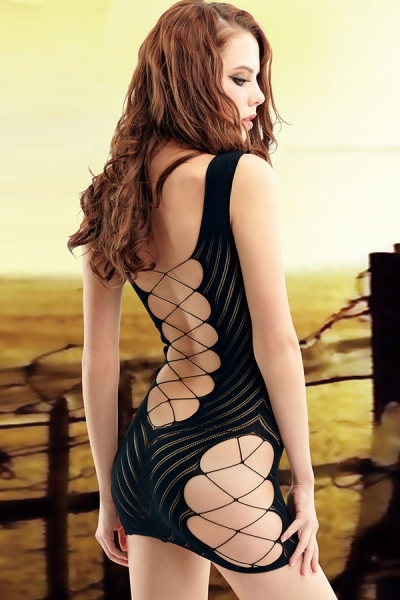 Sexy Midnight Interlace Fishnet Chemise