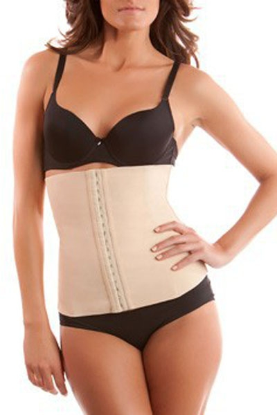 Apricot 4 Steel Bones Latex Under Bust Corset