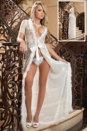Ivory Fur Trim Glam Night Robe
