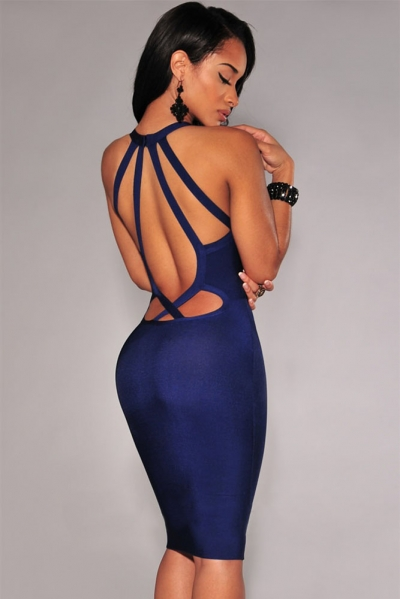 Navy Blue Strappy Cut-Out Back Bandage Dress