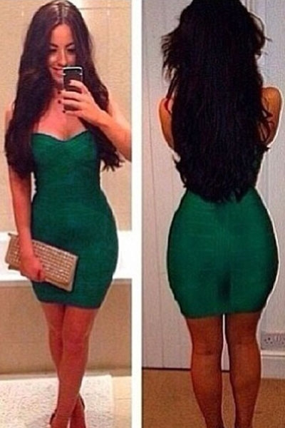 Elegant Formfitting Bandage Dress in Dark Green