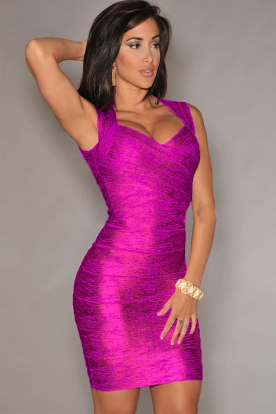 New Fashion Rosy Foil Print Bandage Dress Celebrity Style