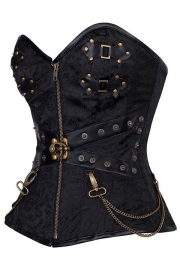 Black Zip Front Steampunk Corset with Thong