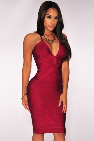 Wine Crisscross Bandage Dress
