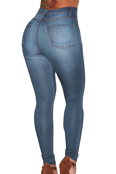 Blue Medium Wash Denim High-Waist Skinny Jeans