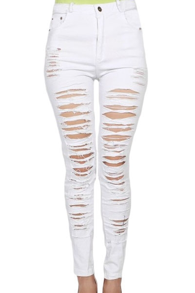White Denim Destroyed High-waist Skinny Jeans