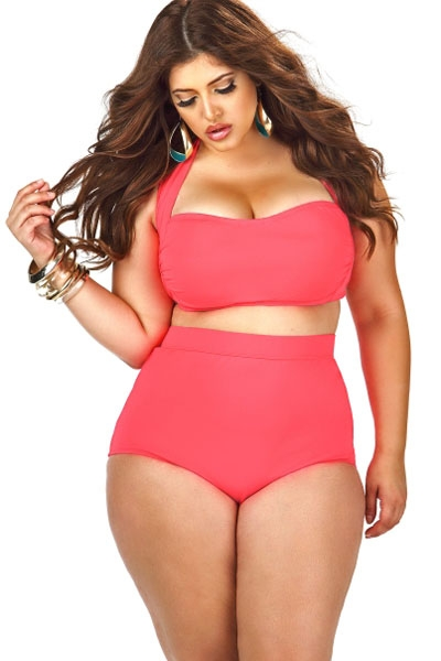 Halter Bandeau High Waist Plus Size Swimwear