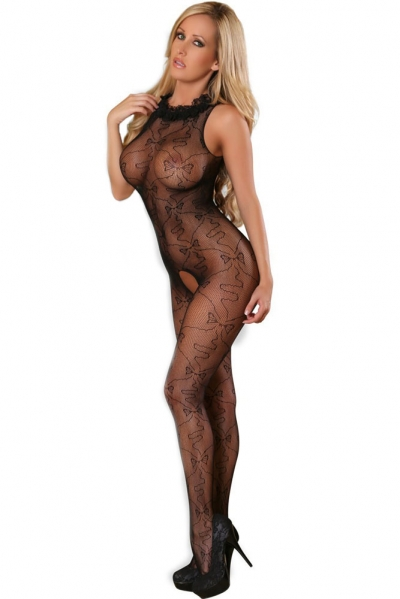Seductive Ruffled Neck Crotchless Bodystocking