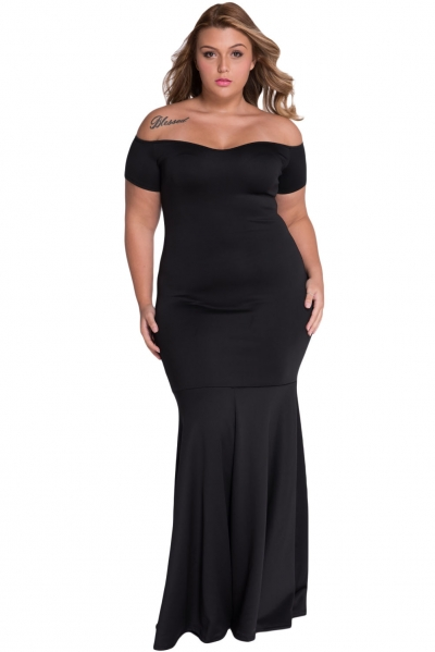 Black Plus Size Off Shoulder Fishtail Maxi Dress