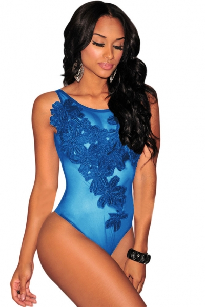 Blue Floral Embroidered Sheer Mesh Bodysuit