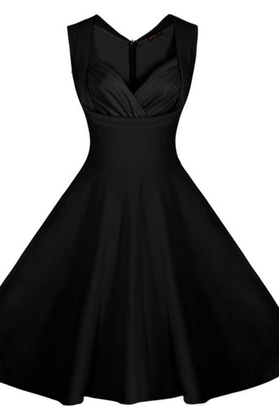 Black Sweetheart Neck Retro Collared Skater Dress