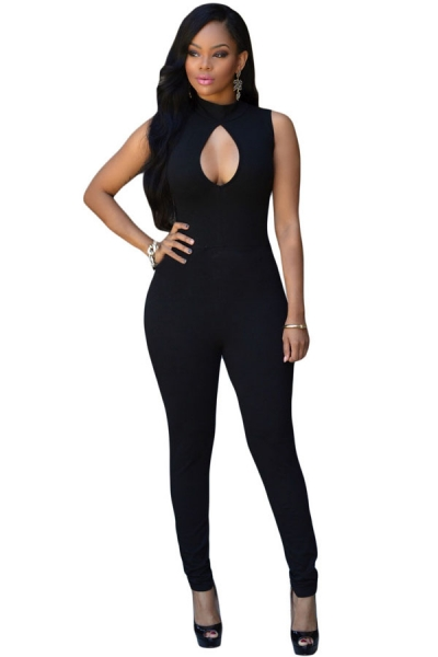 Black Pee-hole Bust Sleeveless Jumpsuit