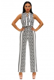 White Print Gold Belted Jumpsuit