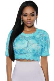 Baby Blue Floral Embroidered Crop Top