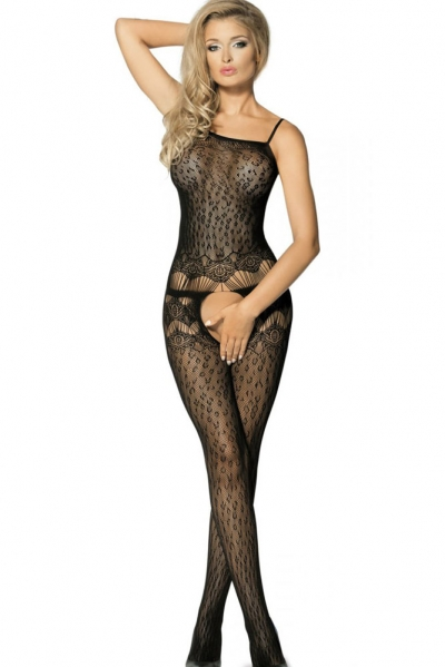 Black Sheer Leopard Net Eyelash Slash Bodystocking
