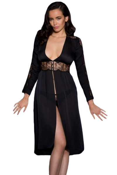 Black Lace Trim Silky Chiffon Gown with Thong