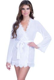 White Lace Trim Robe with Thong