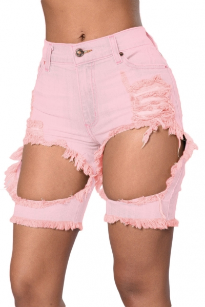 Pink Destroyed Cutoff Bermuda Shorts