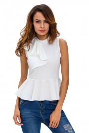 White Asymmetric Ruffle Side Peplum Top