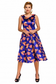 Blue Digital Floral Vintage Swing Dress