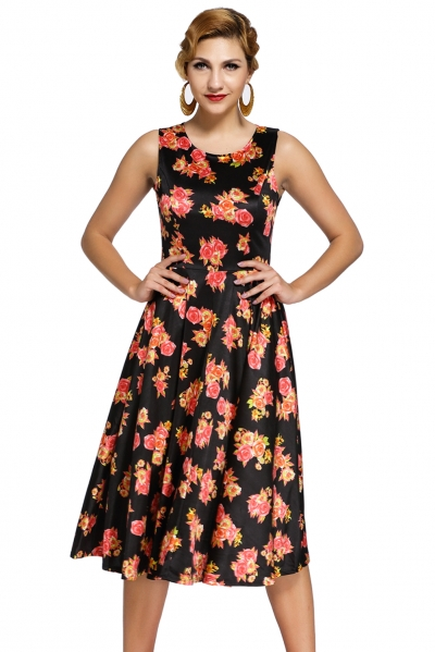 Black Digital Floral Vintage Swing Dress