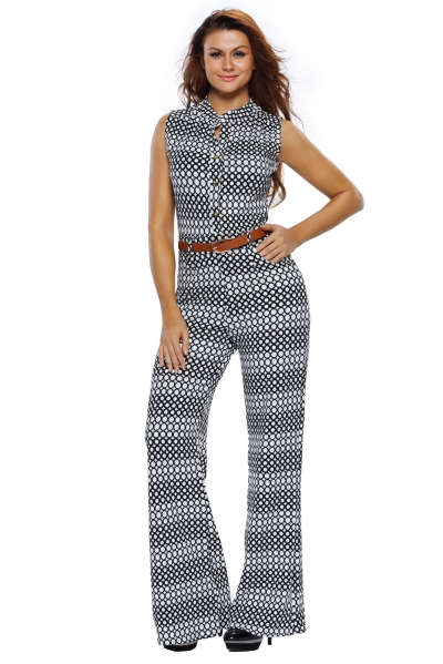 Circle Print Belted Wide Leg Jumpsuit zekela.com