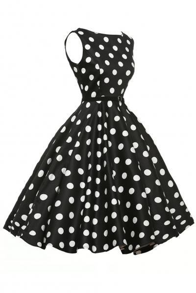 Stylish 50's Retro White Polka Dot Swing Dress in Black