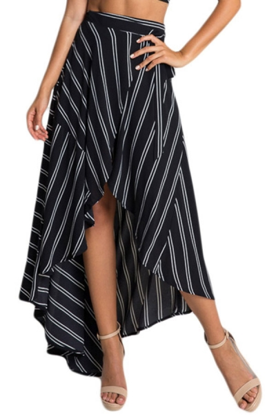 Stripe Print Asymmetrical Wrapped Black Maxi Skirt