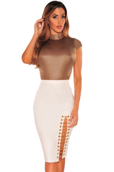 White Gold Chain Slit Skirt