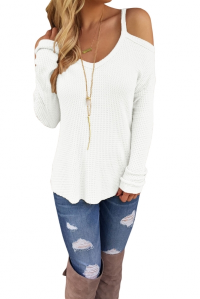 White Cold Shoulder Knit Long Sleeves Sweater