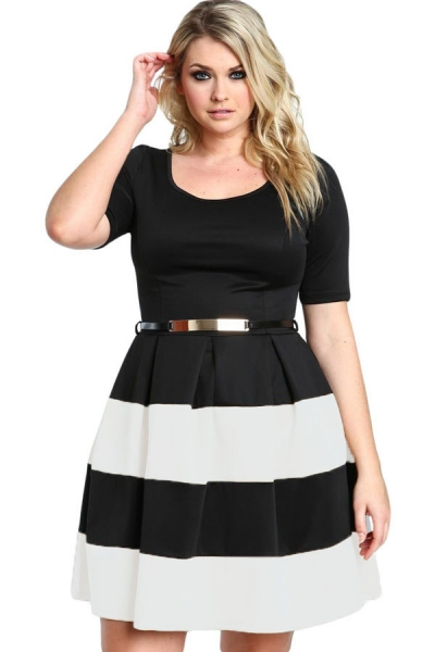 White Stripes Detail Belted Plus Size Skater Dress