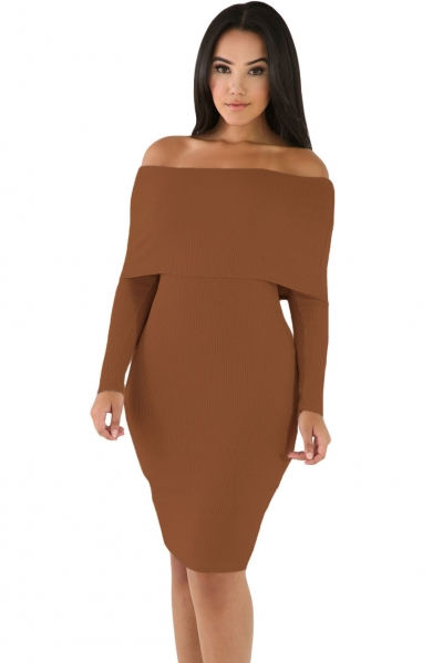 Khaki Mini Knit Jersey Off Shoulder Dress