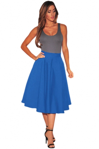 Royal Blue Flared A-Line Midi Skirt