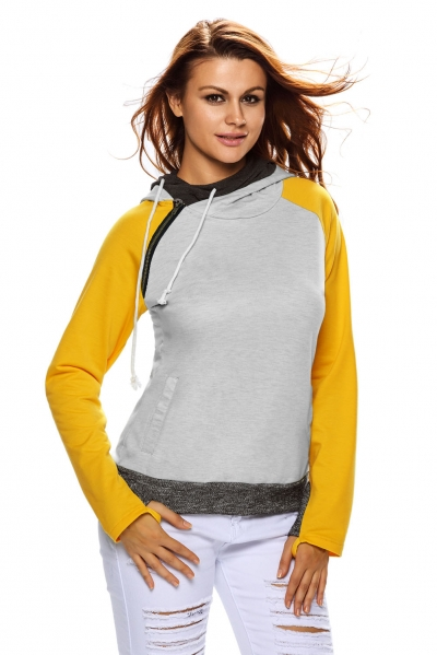 Yellow Grey Patchwork Double Hooded Sweatshirt