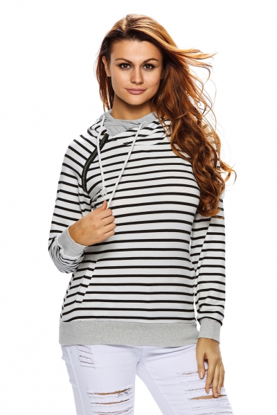 Black White Stripe Double Hooded Sweatshirt