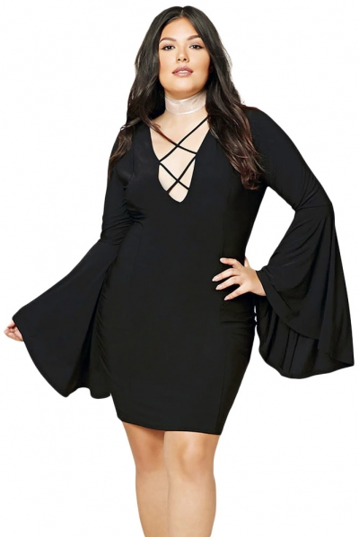 Plus Size Caged Flare Sleeves Dress