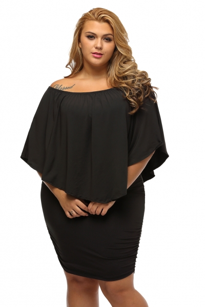 Plus Size Multiple Dressing Layered Black Mini Dress