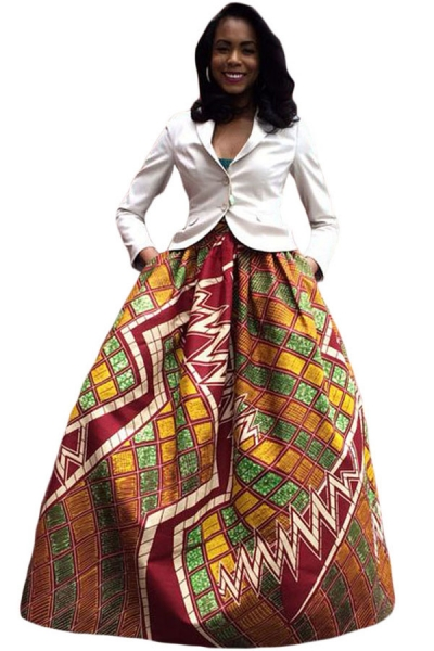 Retro Style African Print Maxi Skirt