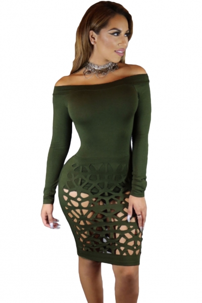 Green Long Sleeve Off Shoulder Hollow Out Bodysuit Dress