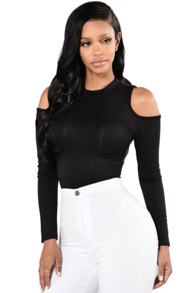 Black Cold Shoulder Formfitting Bodysuit