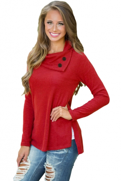 Dark Red Cowboy Fashion Button Detail Sweatshirt