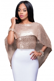 Blush Gold Sequins Cape Top