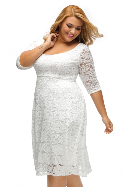 White Floral Lace Sleeved Fit and Flare Curvy Dress zekela.com