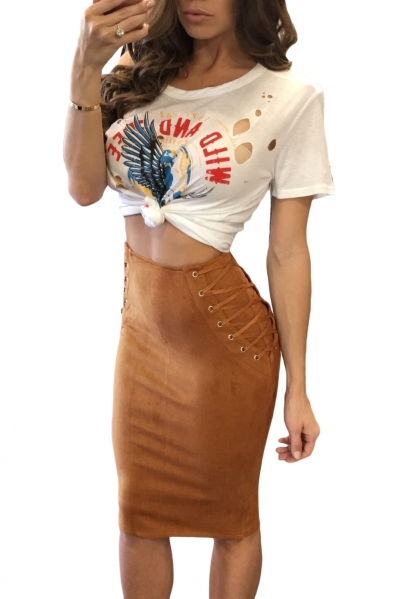 Coffee Faux Suede Lace Up Pencil Skirt